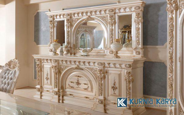 Meja Console Warna White Ivory Kombinasi Gold CS-01, Kurnia Karya