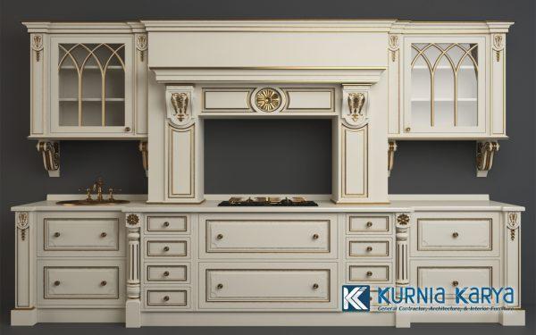 Desain Kitchen Set Modern White Ivory KC-01, Kurnia Karya