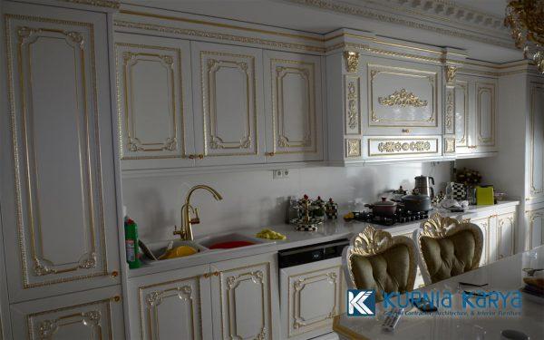 Jual Kitchen Set Duco White Gold Ukir Jepara Murah KC-02, Kurnia Karya